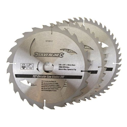 3 Pack Silverline 973912 TCT Circular Saw Blades 24, 40, 48 Teeth 235mm x 30mm